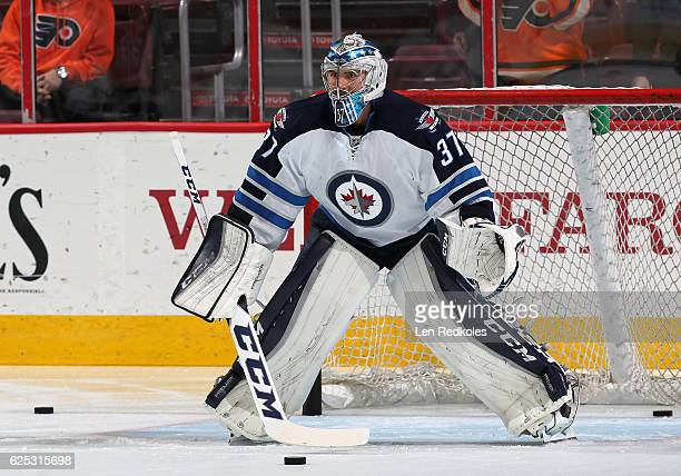 Connor Hellebuyck of the Winnipeg Jets warms up prior to his game against the Philadelphia Flyers on November 17 2016 at the Wells Fargo Center in...
