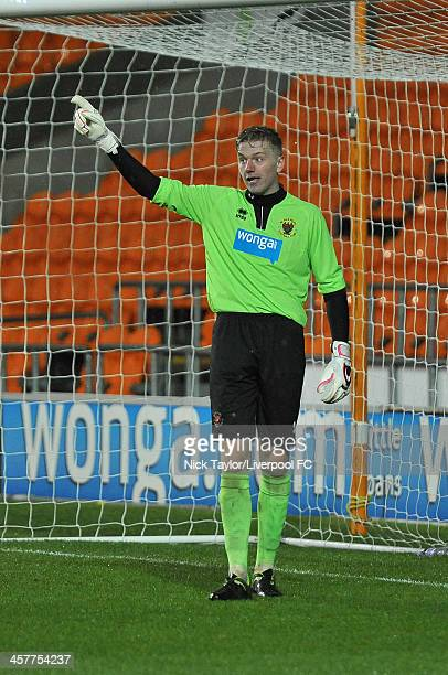 Connor Hunt of Blackpool in action during the FA Youth Cup Third Round fixture between Blackpool and Liverpool at Bloomfield Road on December 18 2013...