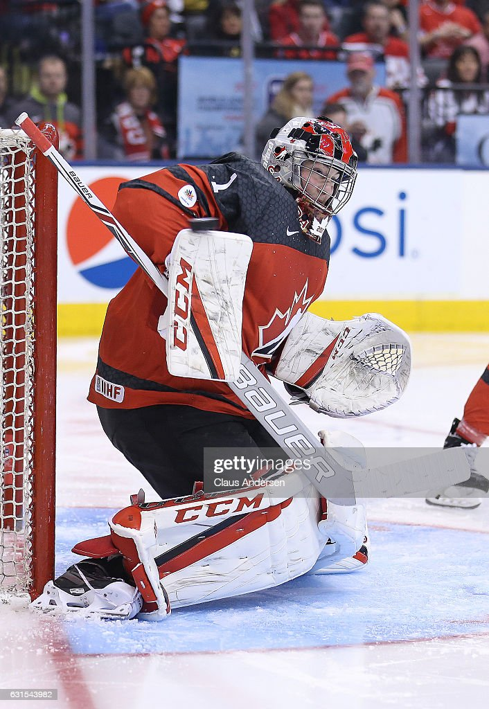Connor Ingram #1 of Team Canada stops a shot against Team USA during a preliminary round game in the 2017 IIHF World Junior Hockey Championship at the Air Canada Centre on December 31, 2016 in Toronto, Ontario, Canada. The USA defeated Canada 3-1.