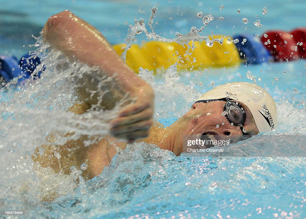 Connor Jaeger of Club Wolverine competes in the men's 400m Freestyle A-Final at the Mecklenburg County Aquatic Center in Charlotte, North Carolina, on Saturday, May 11, 2013.