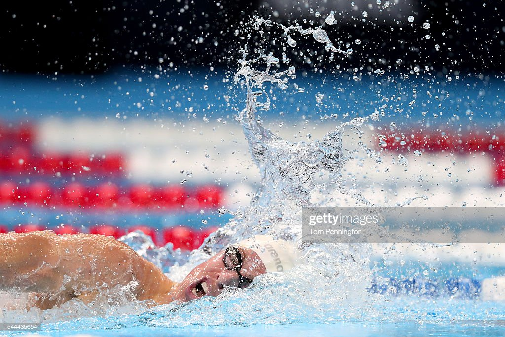 Connor Jaeger of the United States competes in the final heat for the Men's 1500 Meter Freestyle during Day Eight of the 2016 US Olympic Team...