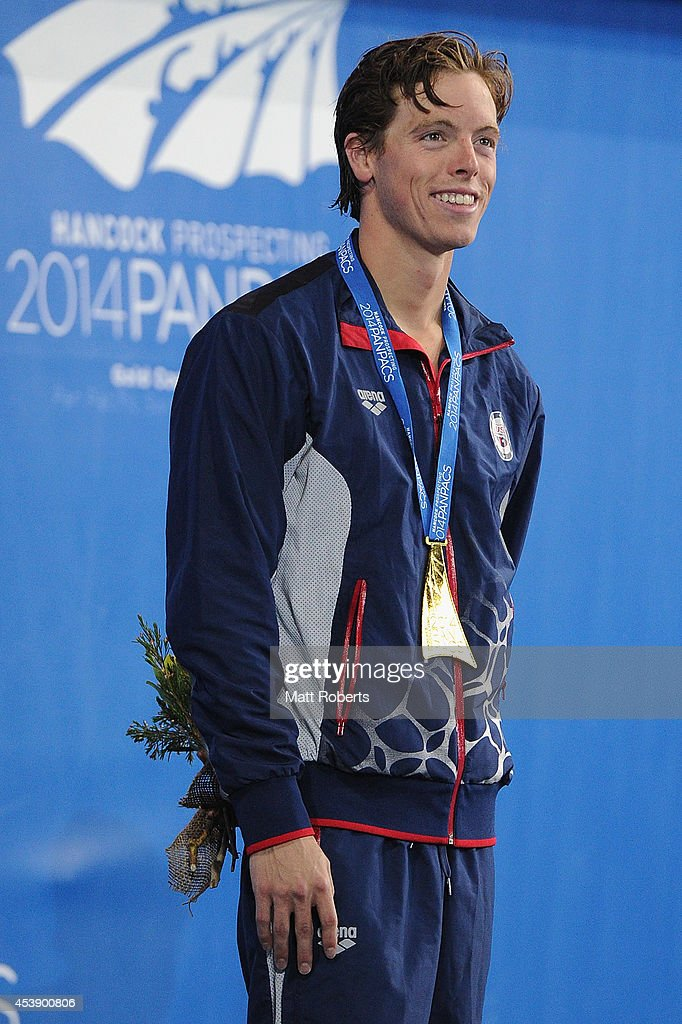 <a gi-track='captionPersonalityLinkClicked' href=/galleries/search?phrase=Connor+Jaeger&family=editorial&specificpeople=9496555 ng-click='$event.stopPropagation()'>Connor Jaeger</a> of the United States smiles on the podium after winning the Men's 1500m Final during day one of the 2014 Pan Pacific Championships at Gold Coast Aquatics on August 21, 2014 on the Gold Coast, Australia.