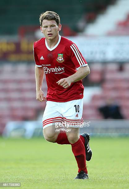 Connor Jennings of Wrexham during the pre season friendly match between Wrexham and Stoke City at Racecourse Ground on July 22 2015 in Wrexham Wales