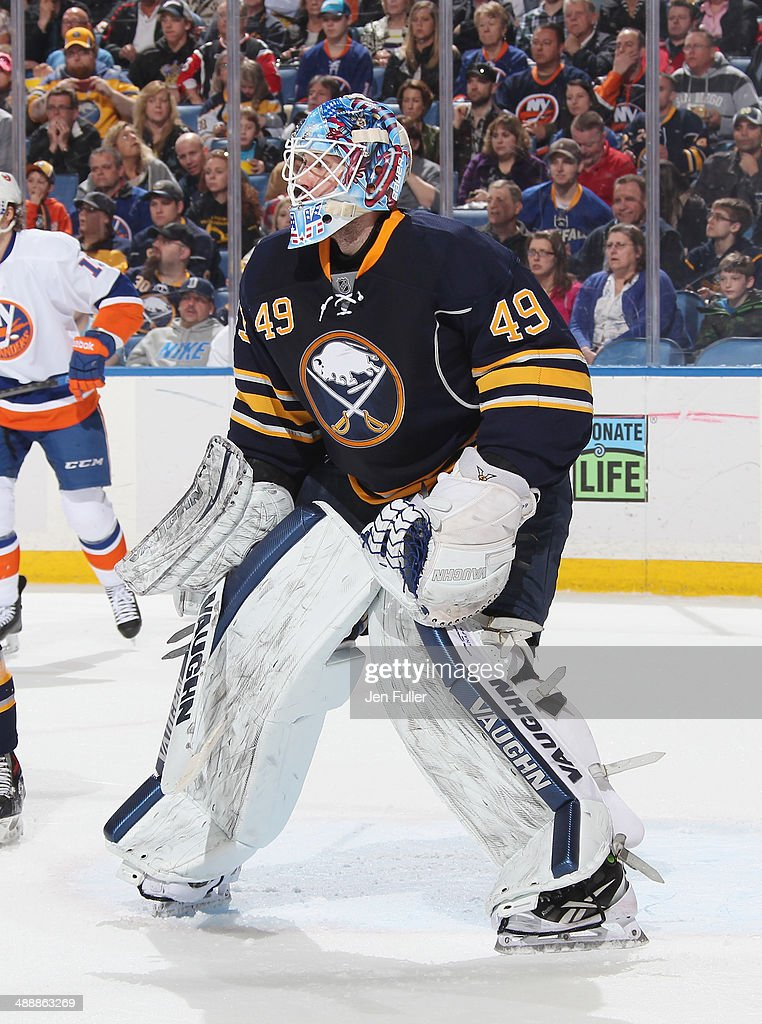 Connor Knapp #49 of the Buffalo Sabres defends the net against the New York Islanders at First Niagara Center on April 13, 2014 in Buffalo, New York.