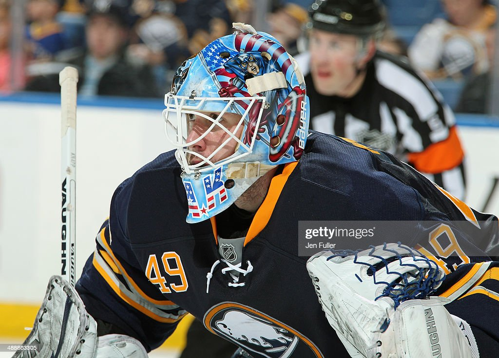Connor Knapp #49 of the Buffalo Sabres prepares for a face-off against the New York Islanders at First Niagara Center on April 13, 2014 in Buffalo, New York.