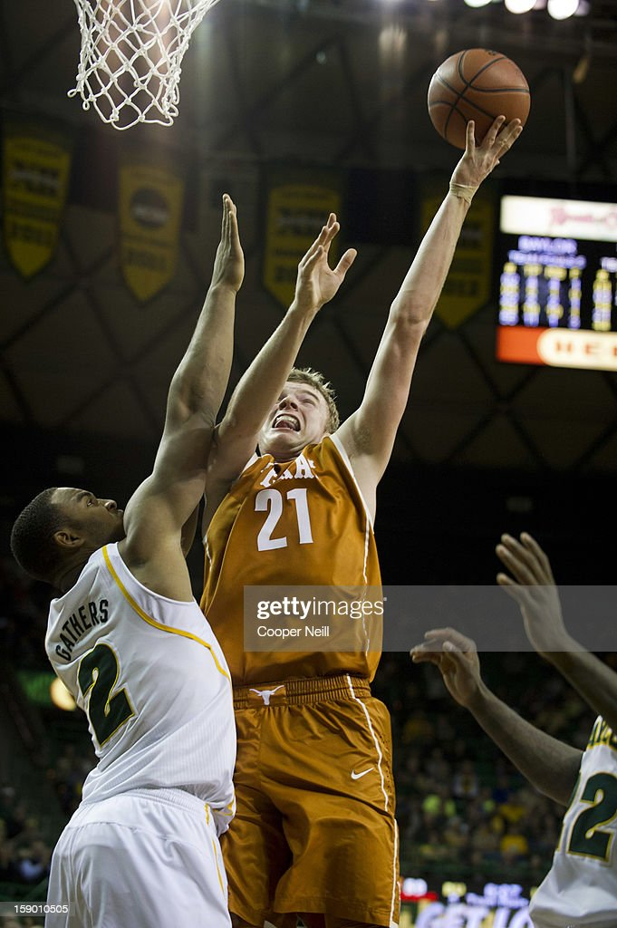 Connor Lammert #21 of the University of Texas Longhorns shoots the ball against the Baylor University Bears on January 5, 2013 at the Ferrell Center in Waco, Texas.