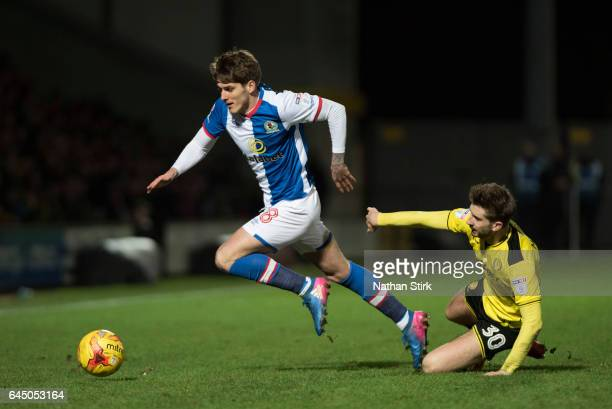 Connor Mahoney of Blackburn Rovers and Luke Murphy of Burton Albion in action during the Sky Bet Championship match between Burton Albion and...