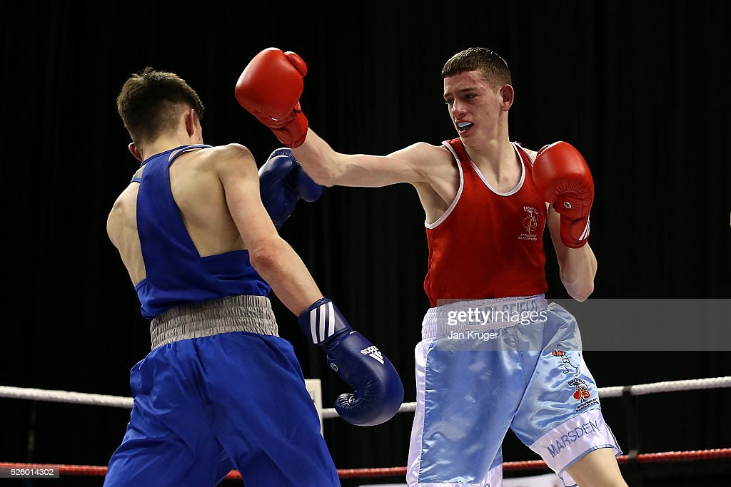Connor Marsden (red) in action against Liam Davies in their 56kg fight during day one of the Boxing Elite National Championships at Echo Arena on April 29, 2016 in Liverpool, England.