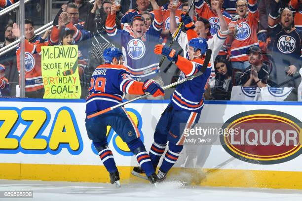 Connor McDavid and Leon Draisaitl of the Edmonton Oilers celebrate after a goal during the game against the Los Angeles Kings on March 28 2017 at...