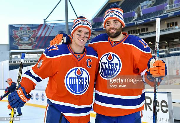 Connor McDavid and Patrick Maroon of the Edmonton Oilers pose for a photo during practice in advance of the 2016 Tim Hortons NHL Heritage Classic...