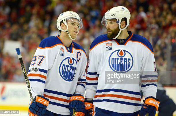 Connor McDavid and Patrick Maroon of the Edmonton Oilers talk during the game against the Washington Capitals at Verizon Center on February 24 2017...