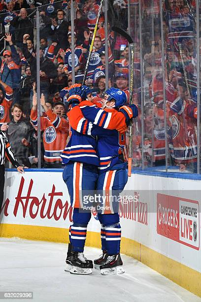 Connor McDavid and Zack Kassian of the Edmonton Oilers celebrate after a goal during the game against the Florida Panthers on January 18 2017 at...
