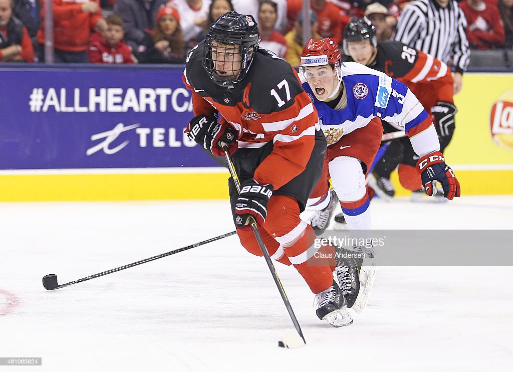<a gi-track='captionPersonalityLinkClicked' href=/galleries/search?phrase=Connor+McDavid&family=editorial&specificpeople=9756794 ng-click='$event.stopPropagation()'>Connor McDavid</a> #17 of Team Canada skates in on a break away goal against Team Russia during the Gold medal game in the 2015 IIHF World Junior Hockey Championship at the Air Canada Centre on January 5, 2015 in Toronto, Ontario, Canada.