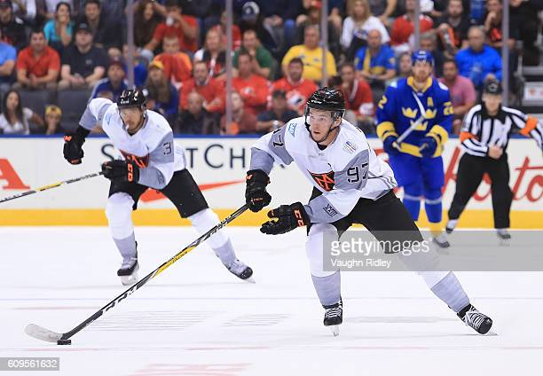 Connor McDavid of Team North America charges up ice against Team Sweden during the World Cup of Hockey 2016 at Air Canada Centre on September 21 2016...
