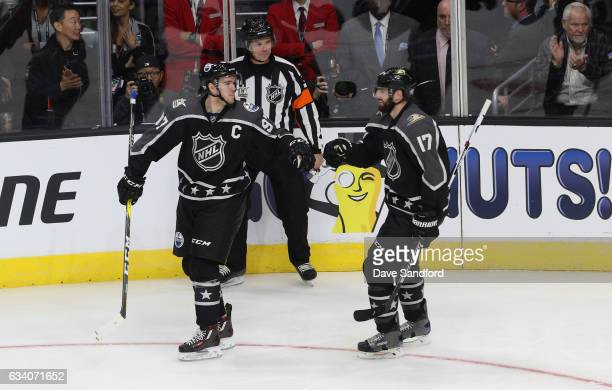 Connor McDavid of the Edmonton Oilers and Ryan Kesler of the Anaheim Ducks celebrate during the 2017 Honda NHL AllStar Game at Staples Center on...
