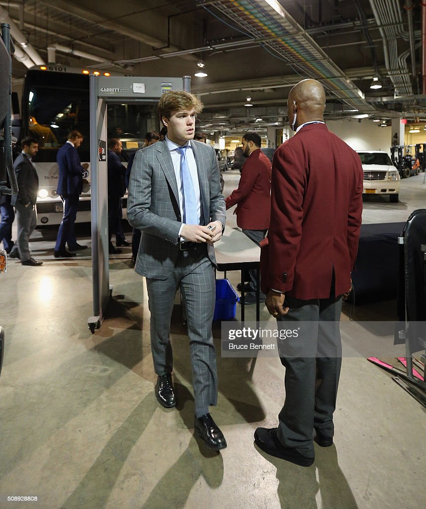 <a gi-track='captionPersonalityLinkClicked' href=/galleries/search?phrase=Connor+McDavid&family=editorial&specificpeople=9756794 ng-click='$event.stopPropagation()'>Connor McDavid</a> #97 of the Edmonton Oilers arrives for the game against the New York Islanders at the Barclays Center on February 7, 2016 in the Brooklyn borough of New York City.
