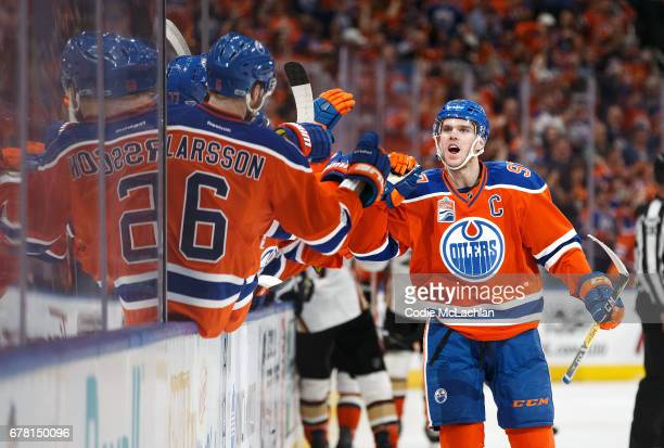 Connor McDavid of the Edmonton Oilers celebrates a goal against the Anaheim Ducks in Game Four of the Western Conference Second Round during the 2017...