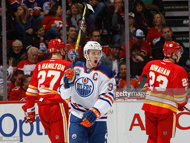 Connor McDavid of the Edmonton Oilers celebrates after a goal against the Calgary Flames at Scotiabank Saddledome on January 21 2017 in Calgary...