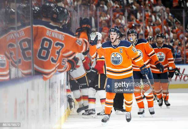 Connor McDavid of the Edmonton Oilers celebrates his goal against the Calgary Flames in the season opener at Rogers Place on October 4 2017 in...