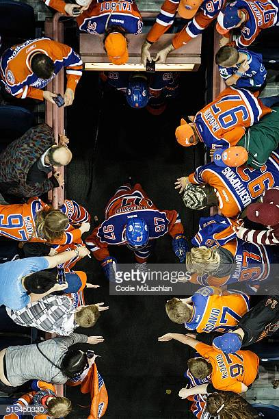 Connor McDavid of the Edmonton Oilers comes out to warm up before the game against the Vancouver Canucks on April 6 2016 at Rexall Place in Edmonton...