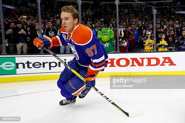 Connor McDavid of the Edmonton Oilers competes in the Bridgestone NHL Fastest Skater event during the 2017 Coors Light NHL AllStar Skills Competition...