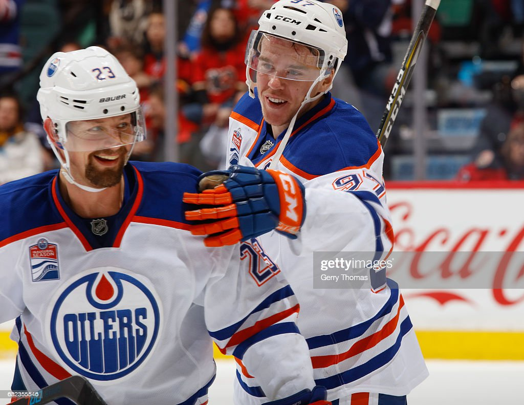 Connor McDavid #97 of the Edmonton Oilers is all smiles after a win against the Calgary Flames at Scotiabank Saddledome on January 21, 2017 in Calgary, Alberta, Canada.