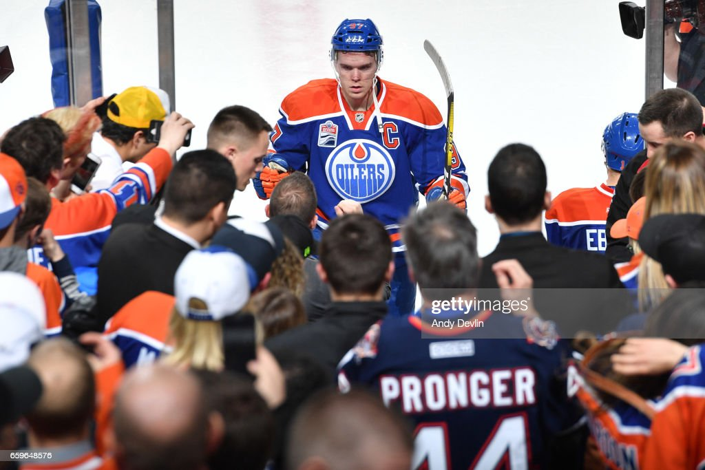 Connor McDavid #97 of the Edmonton Oilers leaves the ice after winning the game against the Los Angeles Kings on March 28, 2017 at Rogers Place in Edmonton, Alberta, Canada.
