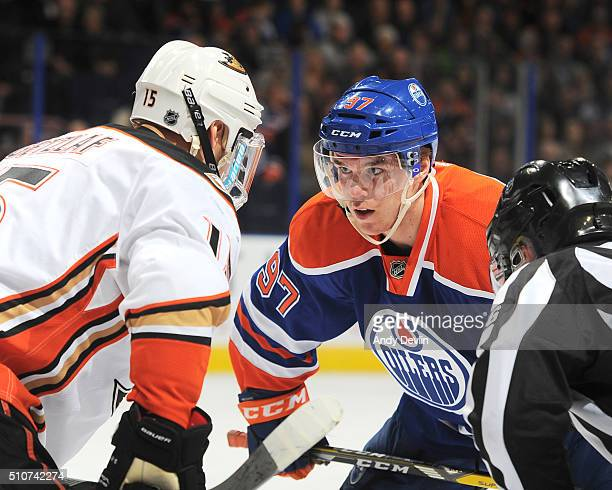 Connor McDavid of the Edmonton Oilers lines up for a face off against Ryan Getzlaf of the Anaheim Ducks on February 16 2016 at Rexall Place in...