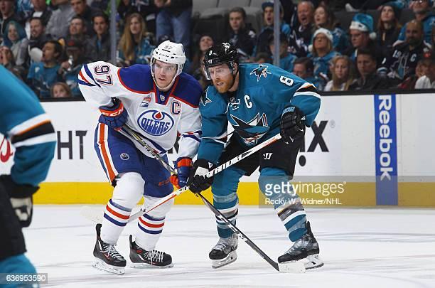 Connor McDavid of the Edmonton Oilers skates against Joe Pavelski of the San Jose Sharks at SAP Center on December 23 2016 in San Jose California