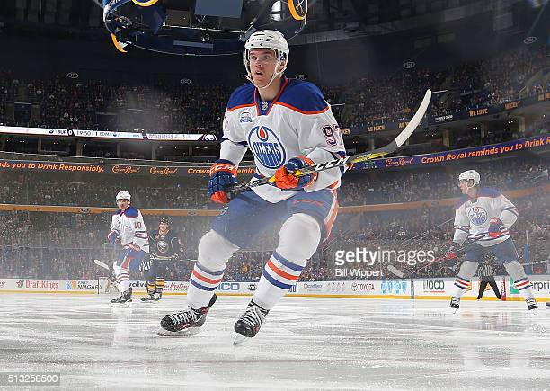 Connor McDavid of the Edmonton Oilers skates against the Buffalo Sabres during an NHL game on March 1 2016 at the First Niagara Center in Buffalo New...