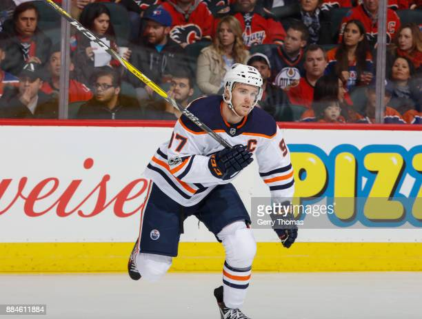 Connor McDavid of the Edmonton Oilers skates against the Calgary Flames at Scotiabank Saddledome on December 2 2017 in Calgary Alberta Canada