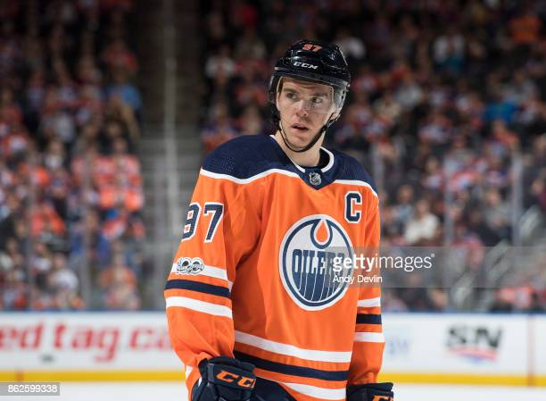 Connor McDavid of the Edmonton Oilers skates against the Carolina Hurricanes on October 17 2017 at Rogers Place in Edmonton Alberta Canada