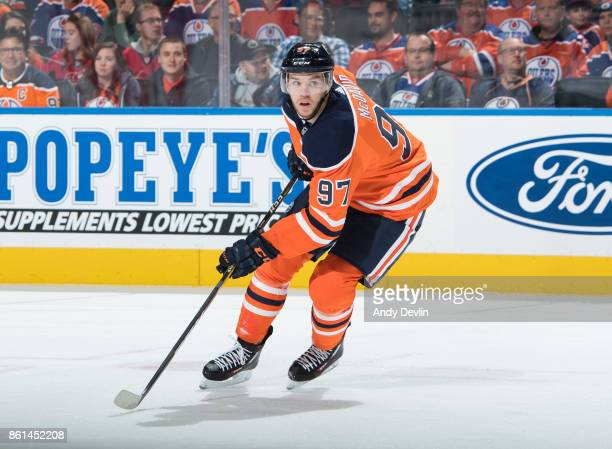 Connor McDavid of the Edmonton Oilers skates against the Ottawa Senators on October 14 2017 at Rogers Place in Edmonton Alberta Canada