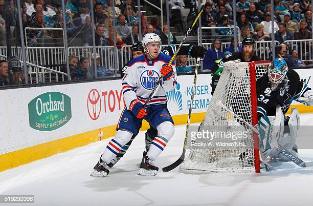 Connor McDavid of the Edmonton Oilers skates against the San Jose Sharks at SAP Center on March 24 2016 in San Jose California