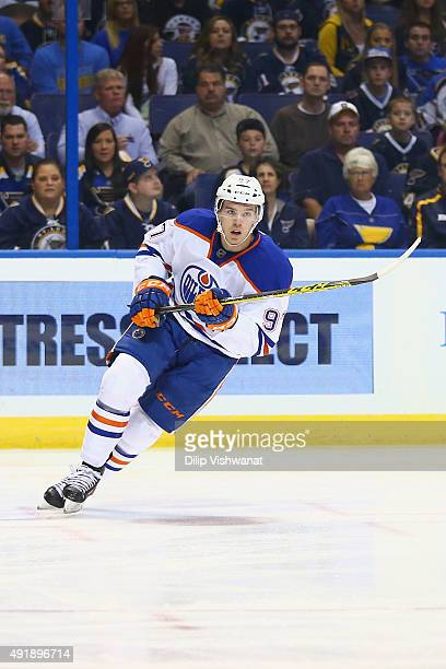 Connor McDavid of the Edmonton Oilers skates against the St Louis Blues at the Scottrade Center on October 8 2015 in St Louis Missouri