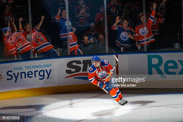 Connor McDavid of the Edmonton Oilers skates before the home opener against the Calgary Flames on October 12 2016 at Rogers Place in Edmonton Alberta...
