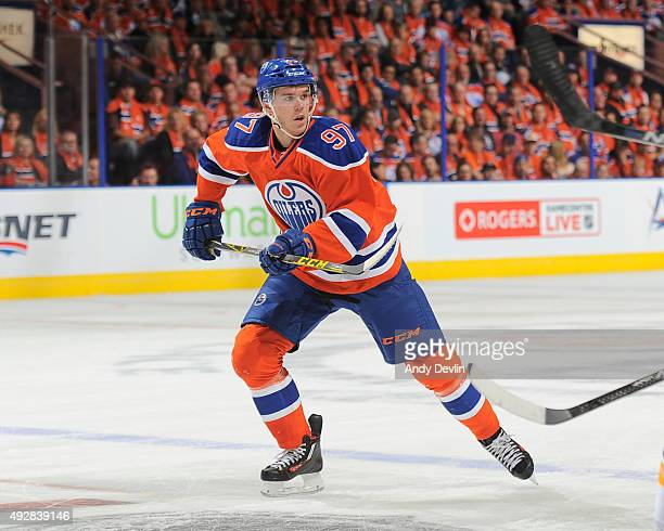 Connor McDavid of the Edmonton Oilers skates during a game against the St Louis Blues on October 15 2015 at Rexall Place in Edmonton Alberta Canada