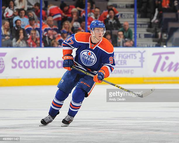Connor McDavid of the Edmonton Oilers skates during a game against the Washington Capitals on October 23 2015 at Rexall Place in Edmonton Alberta...