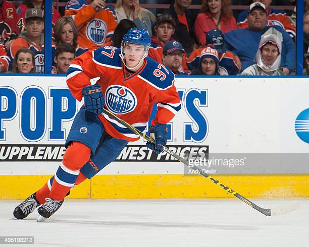 Connor McDavid of the Edmonton Oilers skates during a game against the Calgary Flames on October 31 2015 at Rexall Place in Edmonton Alberta Canada