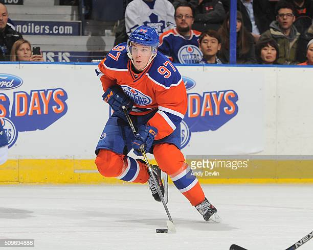 Connor McDavid of the Edmonton Oilers skates during a game against the Toronto Maple Leafs on February 11 2016 at Rexall Place in Edmonton Alberta...