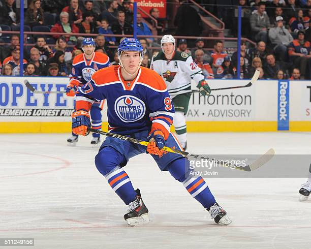 Connor McDavid of the Edmonton Oilers skates during a game against the Minnesota Wild on February 18 2016 at Rexall Place in Edmonton Alberta Canada