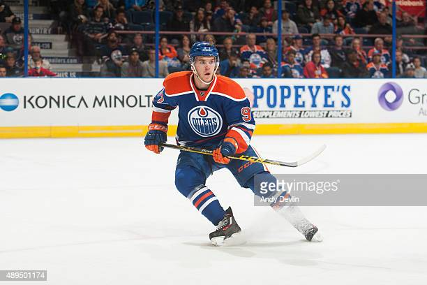 Connor McDavid of the Edmonton Oilers skates during a preseason game against the Calgary Flames on September 21 2015 at Rexall Place in Edmonton...