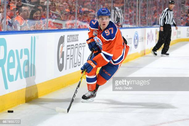 Connor McDavid of the Edmonton Oilers skates during Game One of the Western Conference First Round during the 2017 NHL Stanley Cup Playoffs against...
