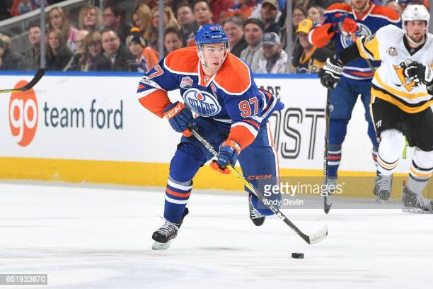 Connor McDavid of the Edmonton Oilers skates during the game against the Pittsburgh Penguins on March 10 2017 at Rogers Place in Edmonton Alberta...