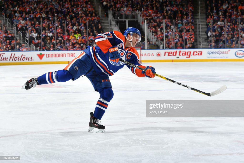 Connor McDavid #97 of the Edmonton Oilers skates during the game against the Los Angeles Kings on March 28, 2017 at Rogers Place in Edmonton, Alberta, Canada.