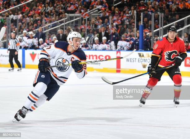 Connor McDavid of the Edmonton Oilers skates during the preseason game against the Calgary Flames on September 18 2017 at Rogers Place in Edmonton...