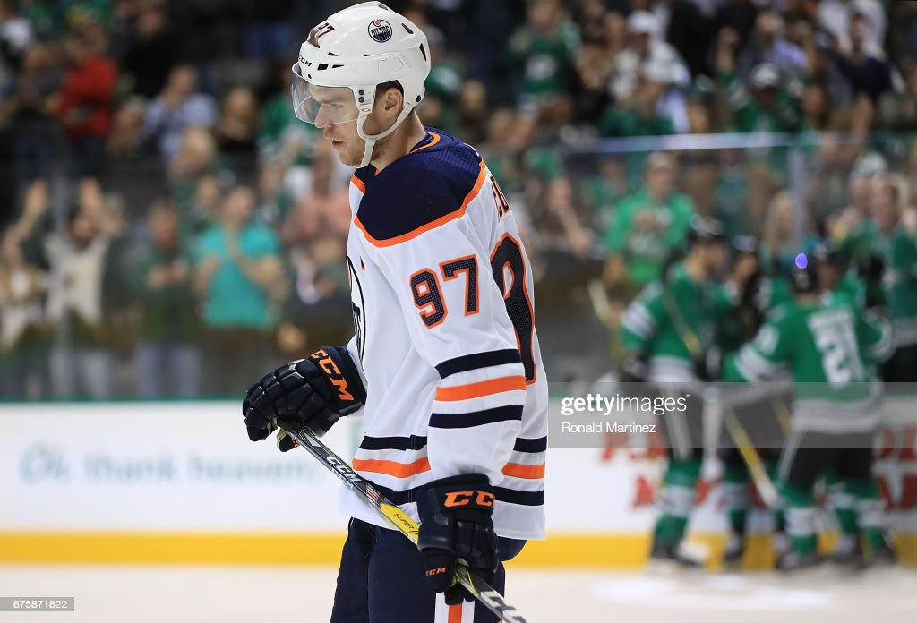Connor McDavid #97 of the Edmonton Oilers skates off the ice after a goal by the Dallas Stars in the first period at American Airlines Center on November 18, 2017 in Dallas, Texas.