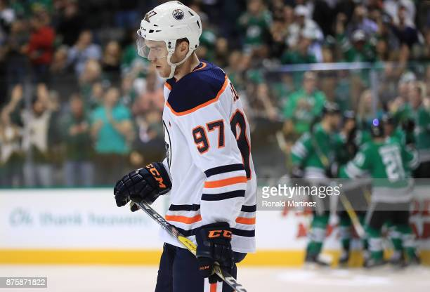 Connor McDavid of the Edmonton Oilers skates off the ice after a goal by the Dallas Stars in the first period at American Airlines Center on November...