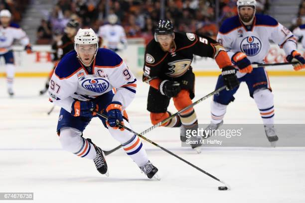 Connor McDavid of the Edmonton Oilers skates up ice during the second period of Game Two of the Western Conference Second Round during the 2017 NHL...