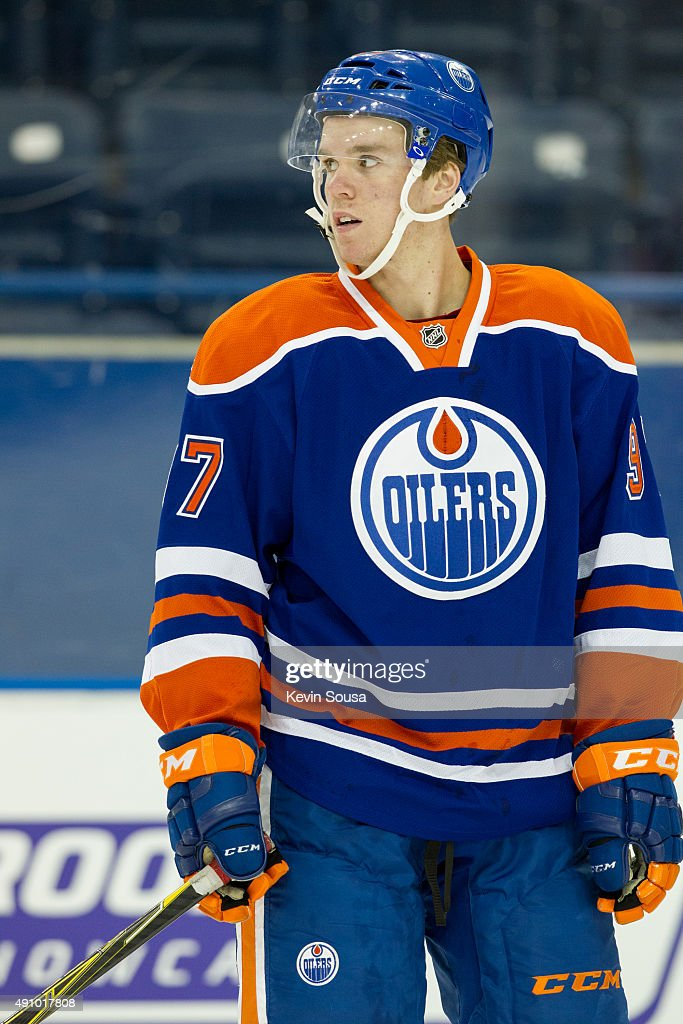 Connor McDavid #97 of the Edmonton Oilers skates with the puck during a photo shoot at the 2015 NHLPA Rookie Showcase at Mattamy Athletic Centre on September 1, 2015 in Toronto, Ontario, Canada .